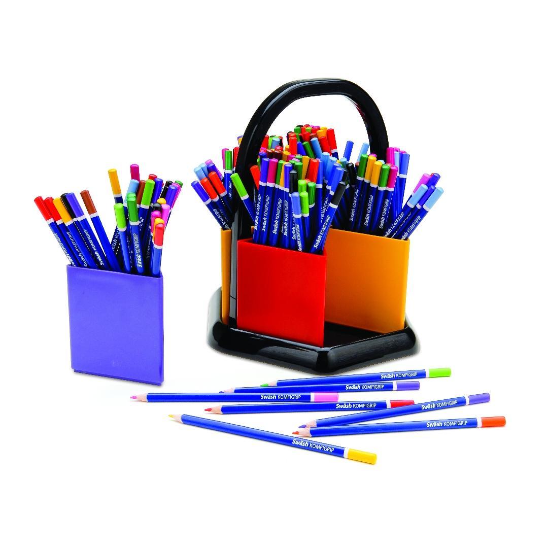 Komfgrip Giant Coloured Pencils & Organiser (144pcs)