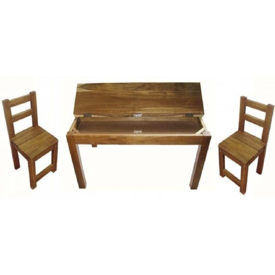 AcaciaWood Study Table w 2 Standard Chairs
