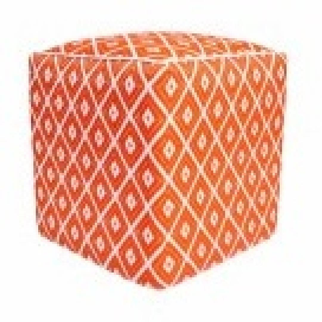 Recycled Cube Ottoman - Orange & White