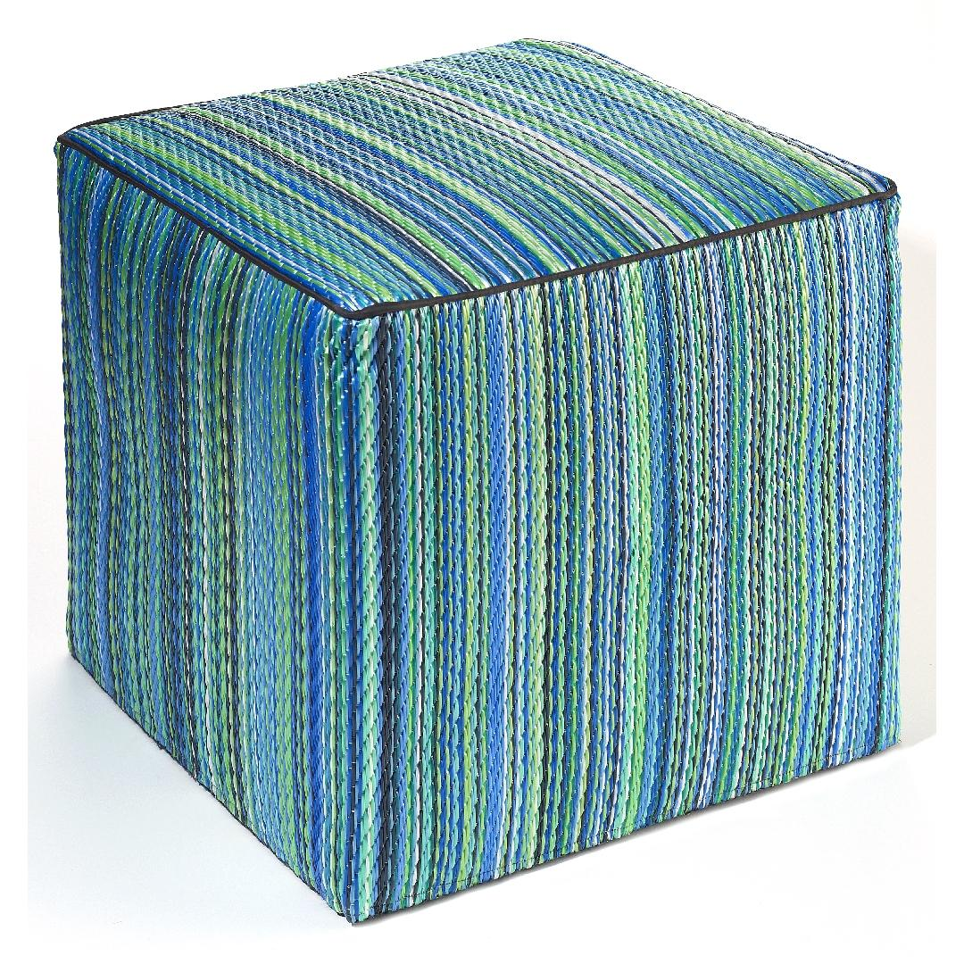 Recycled Cube Ottoman - Blue Stripe
