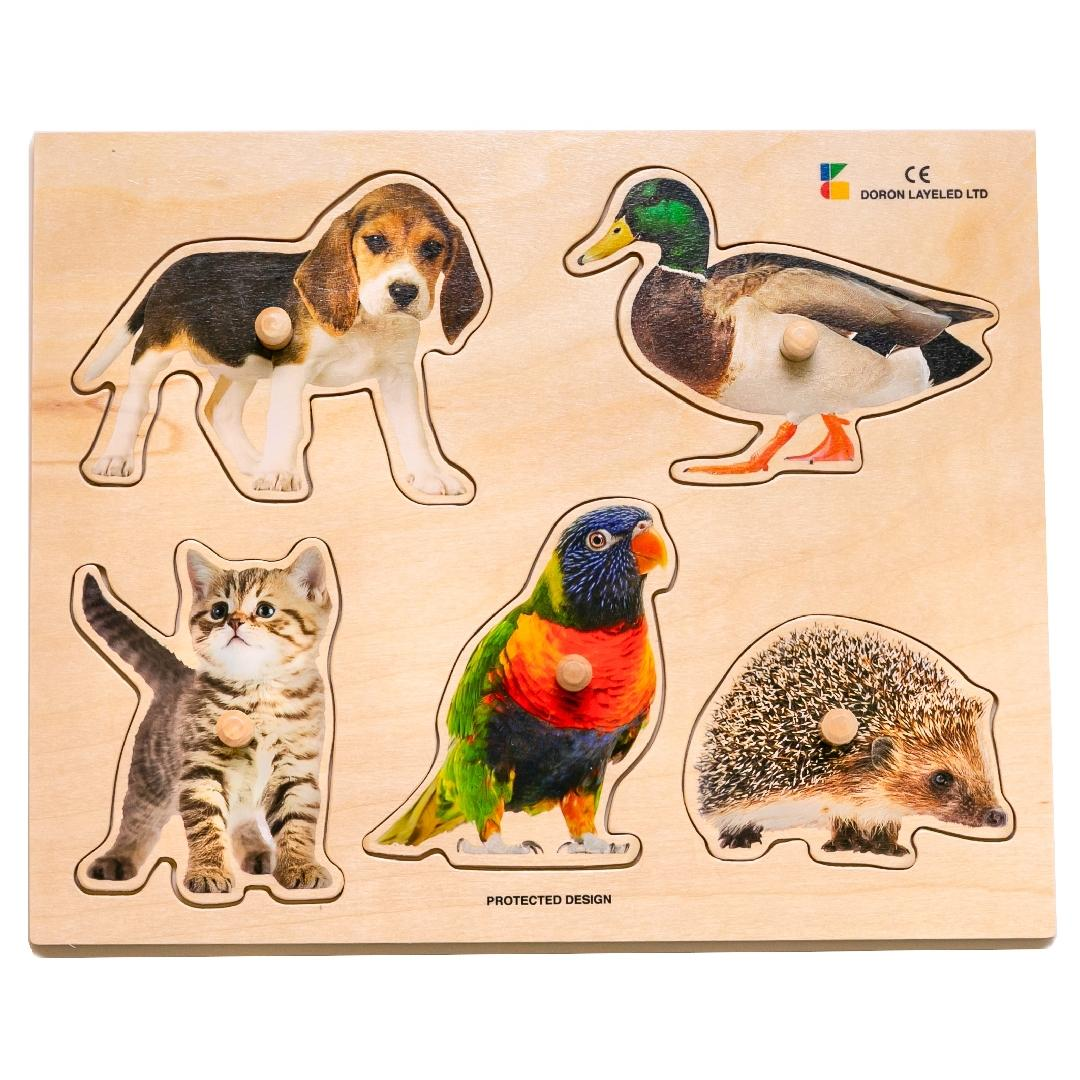 Real Animals 5 in 1 Peg Puzzle