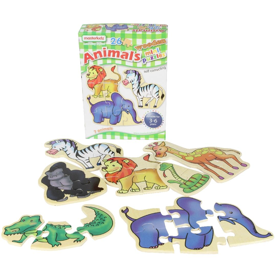 Mini Wooden Zoo Puzzles (Set of 7)