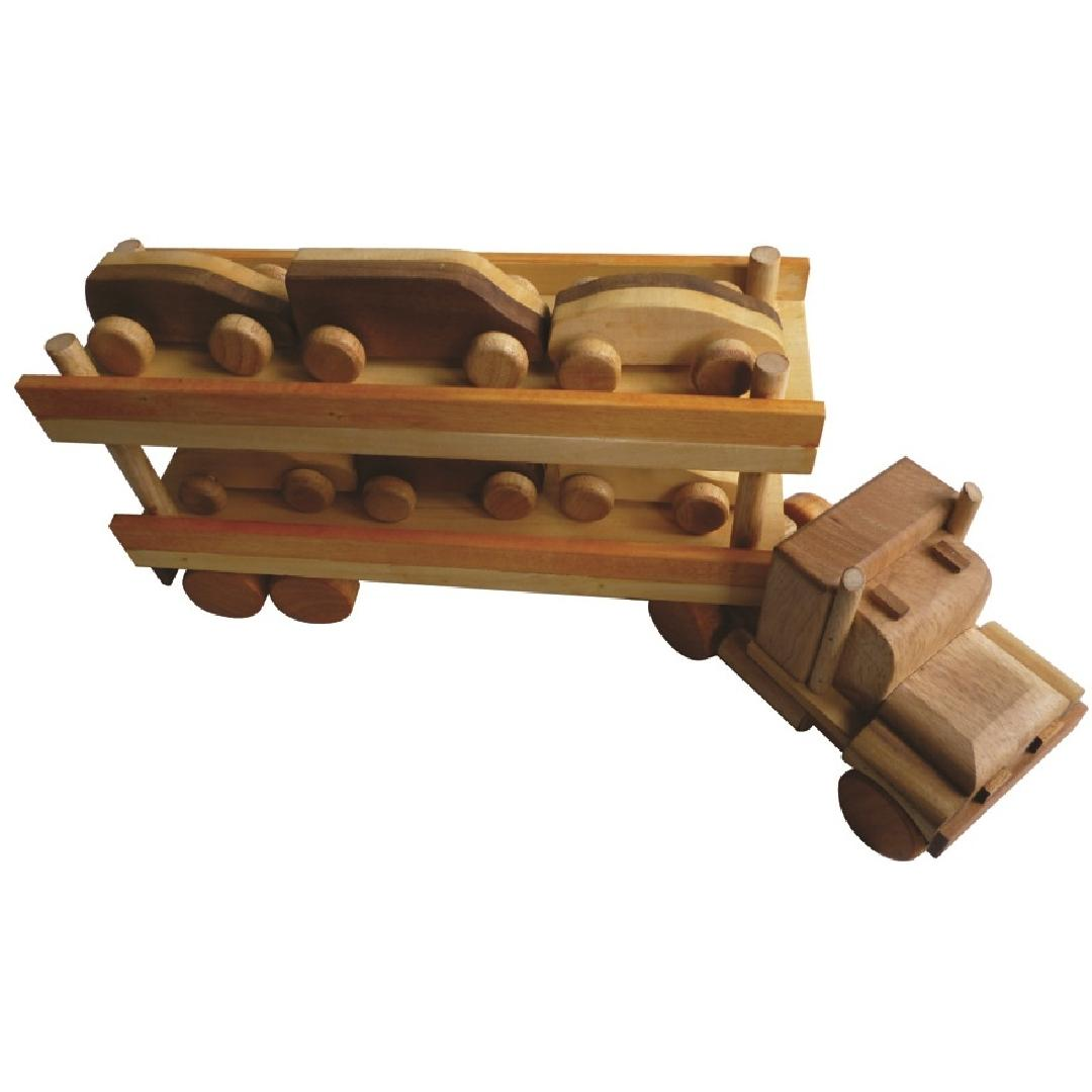 Natural Wooden Car Transporter Truck