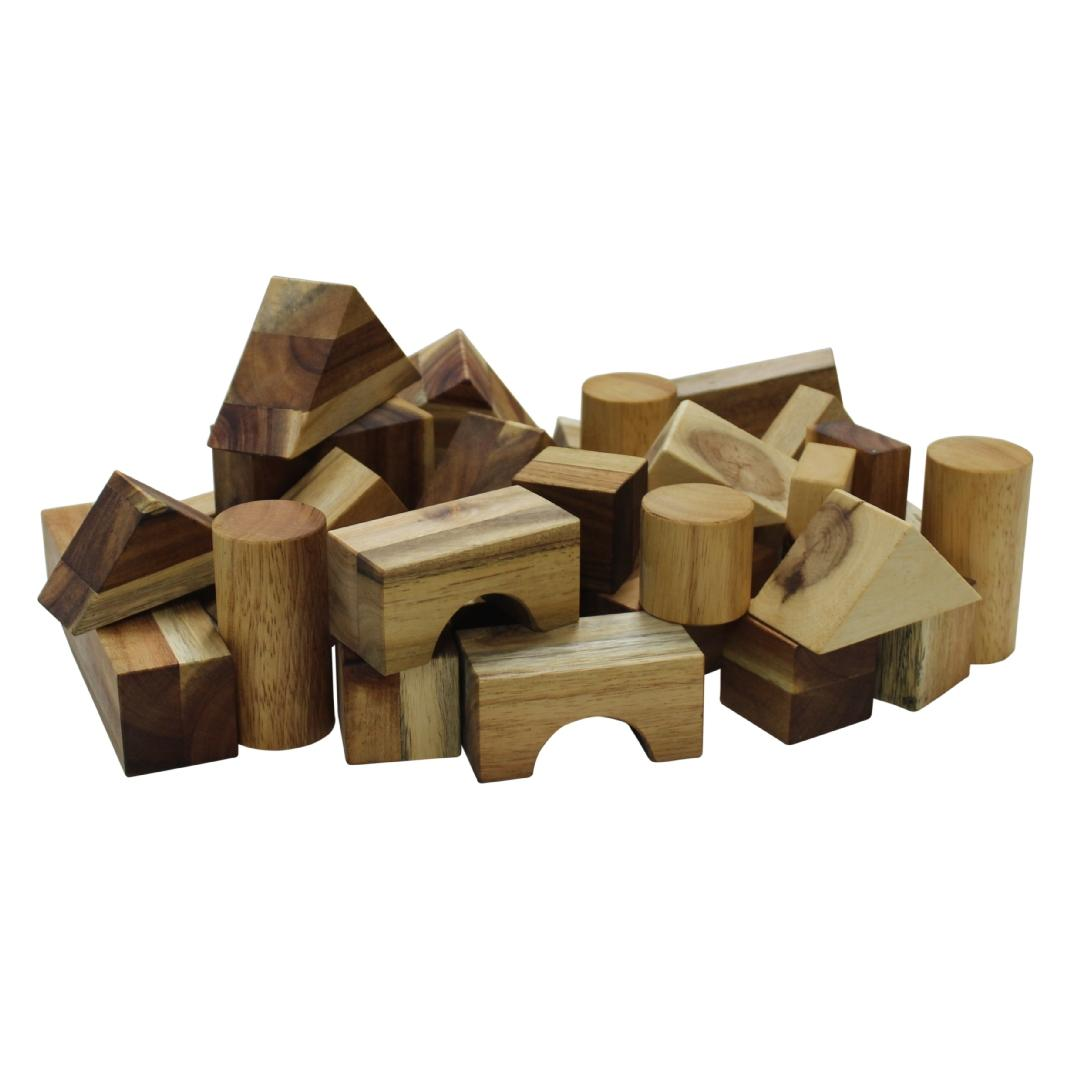 Real Natural Wood Blocks (34pcs)