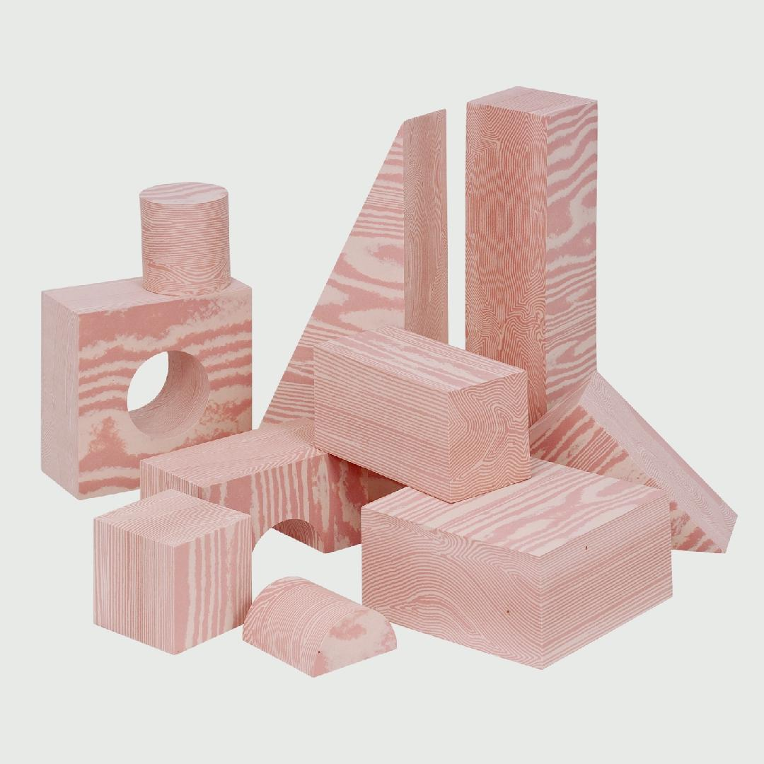 Woodgrain Foam Blocks (56pcs)