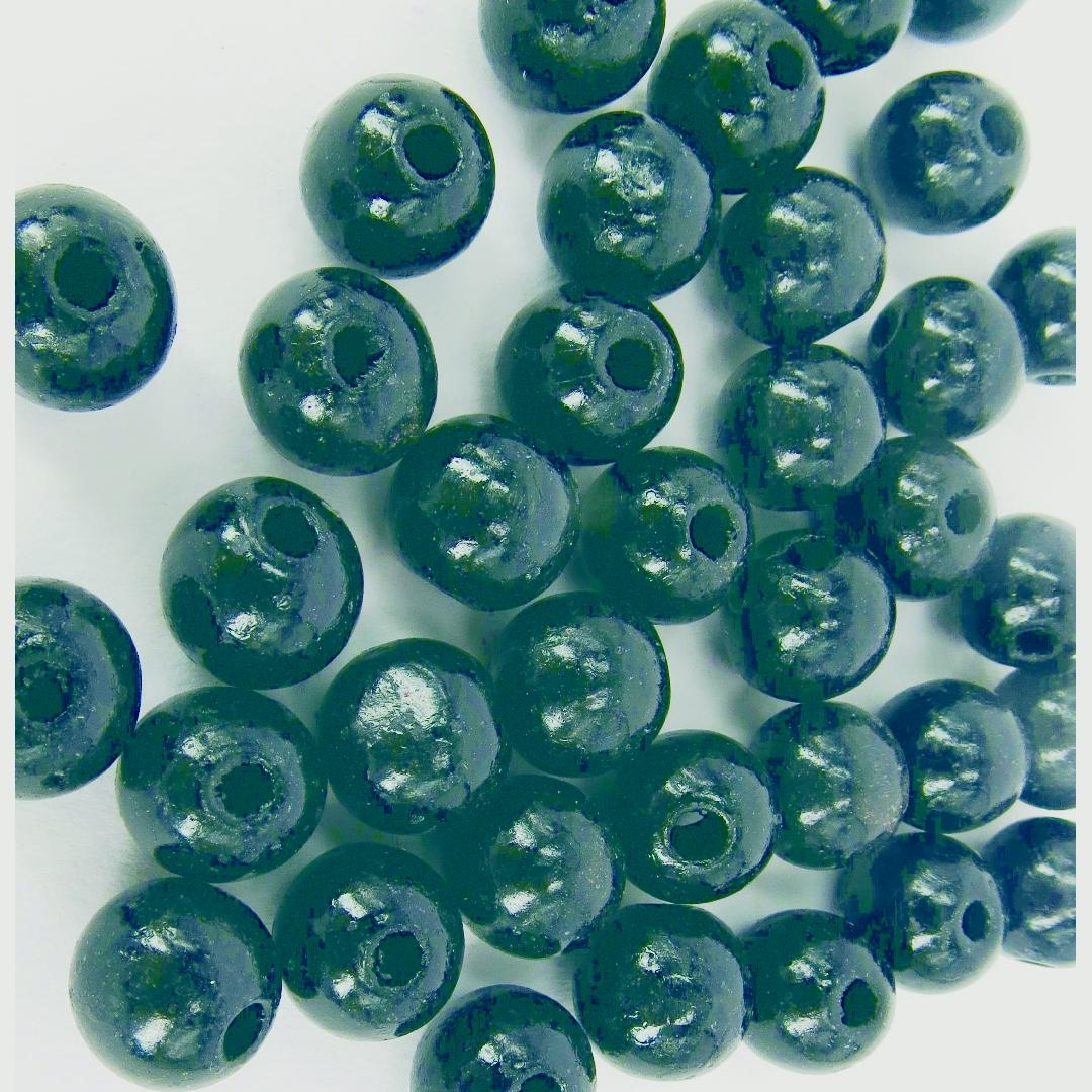 Round Wooden Beads Black Small (100pcs)