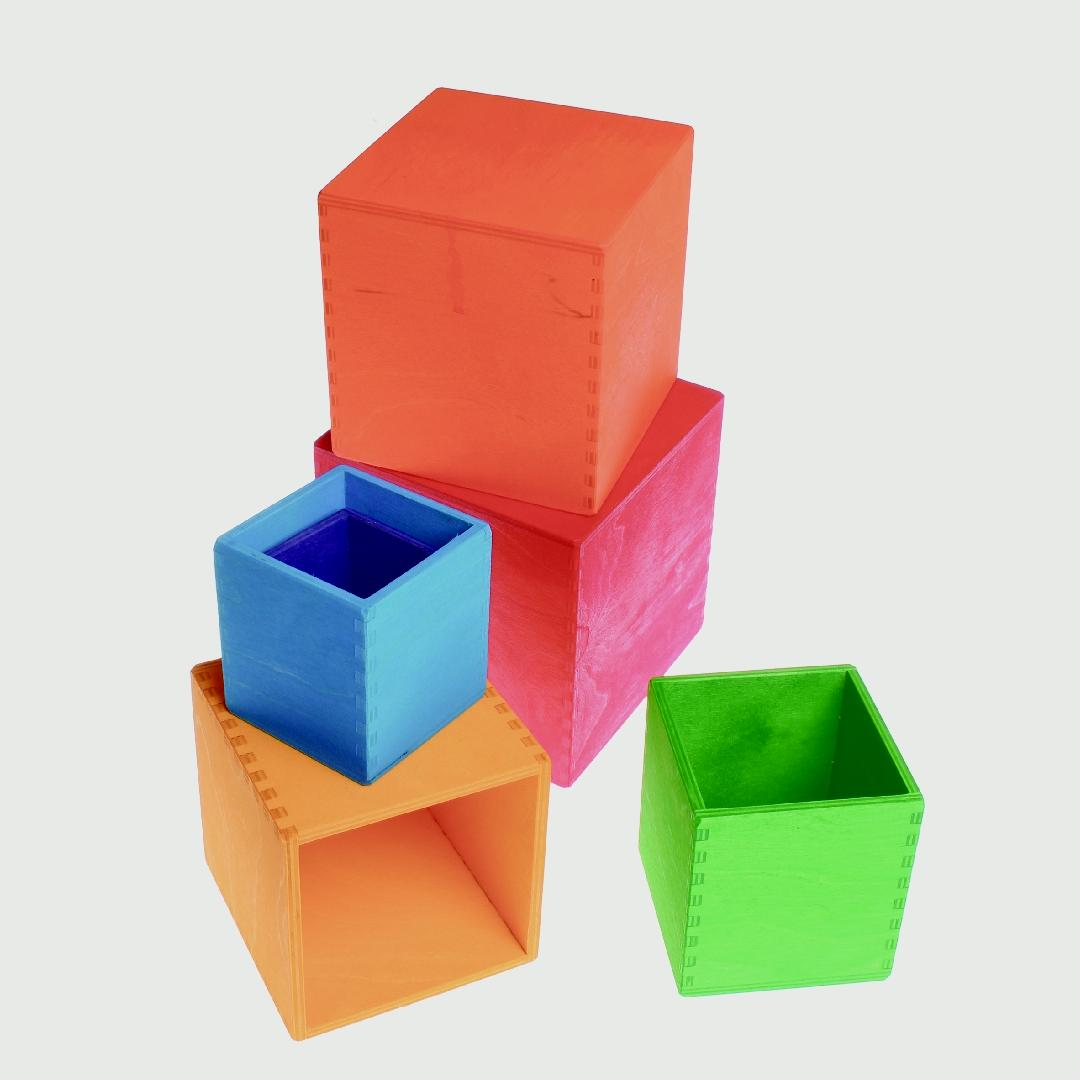 Large Rainbow Wooden Stacking Boxes (6pcs)