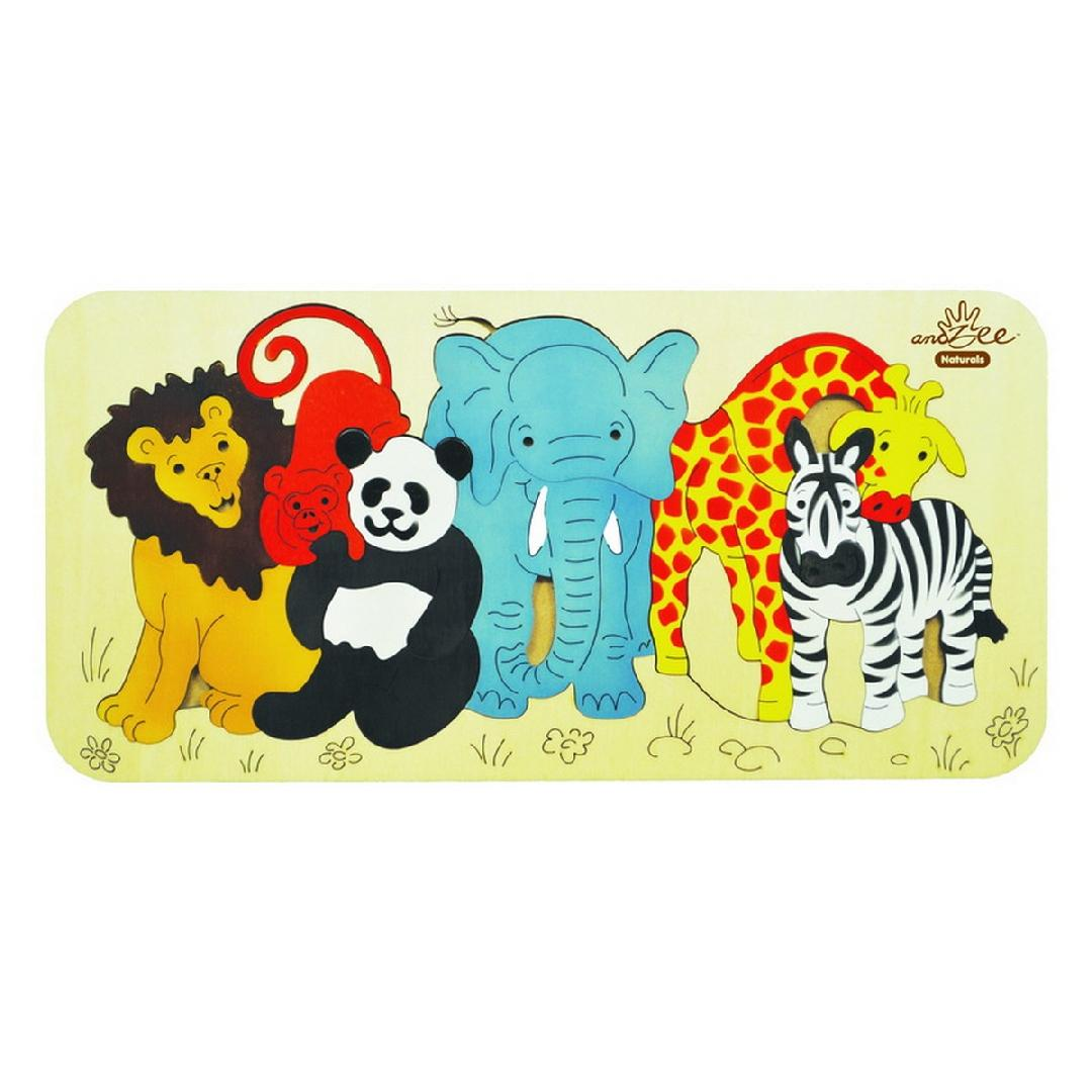Zoo Animals Raised Puzzle (12pcs)