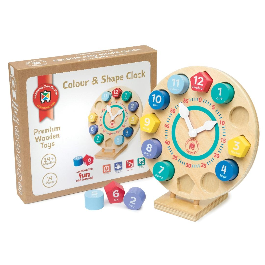 Premium Wooden Toys Colour & Shape Clock