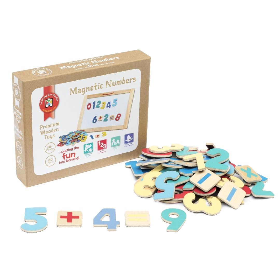 Premium Wooden Toys Magnetic Numbers (Set of 60)