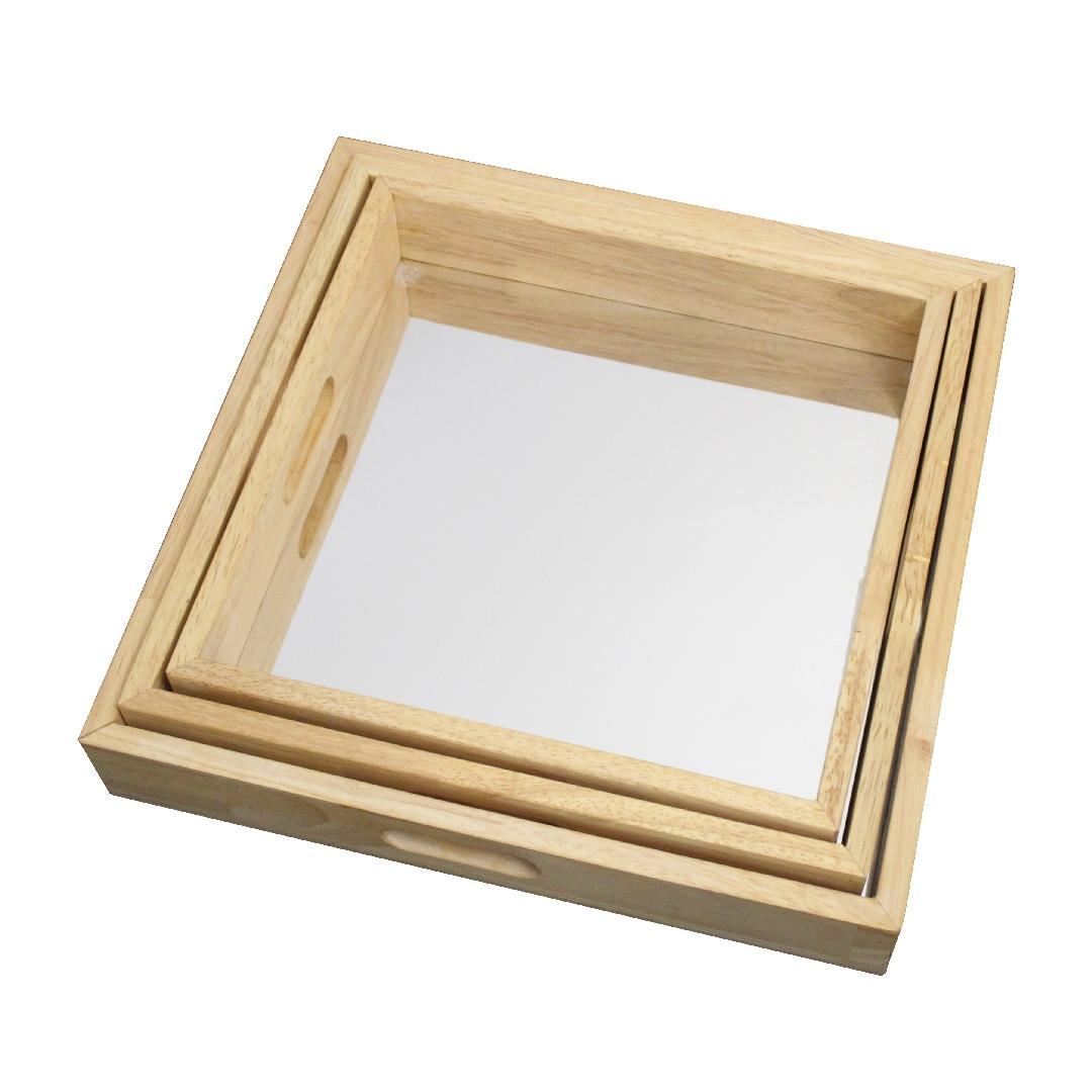 Wooden Square Mirror Trays (3pcs)