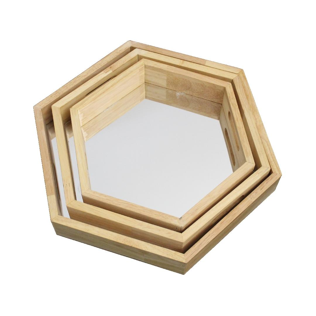 Wooden Hexagonal Mirror Trays (3pcs)