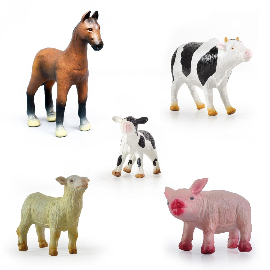 Green Rubber Farm Animals Set (5pcs)