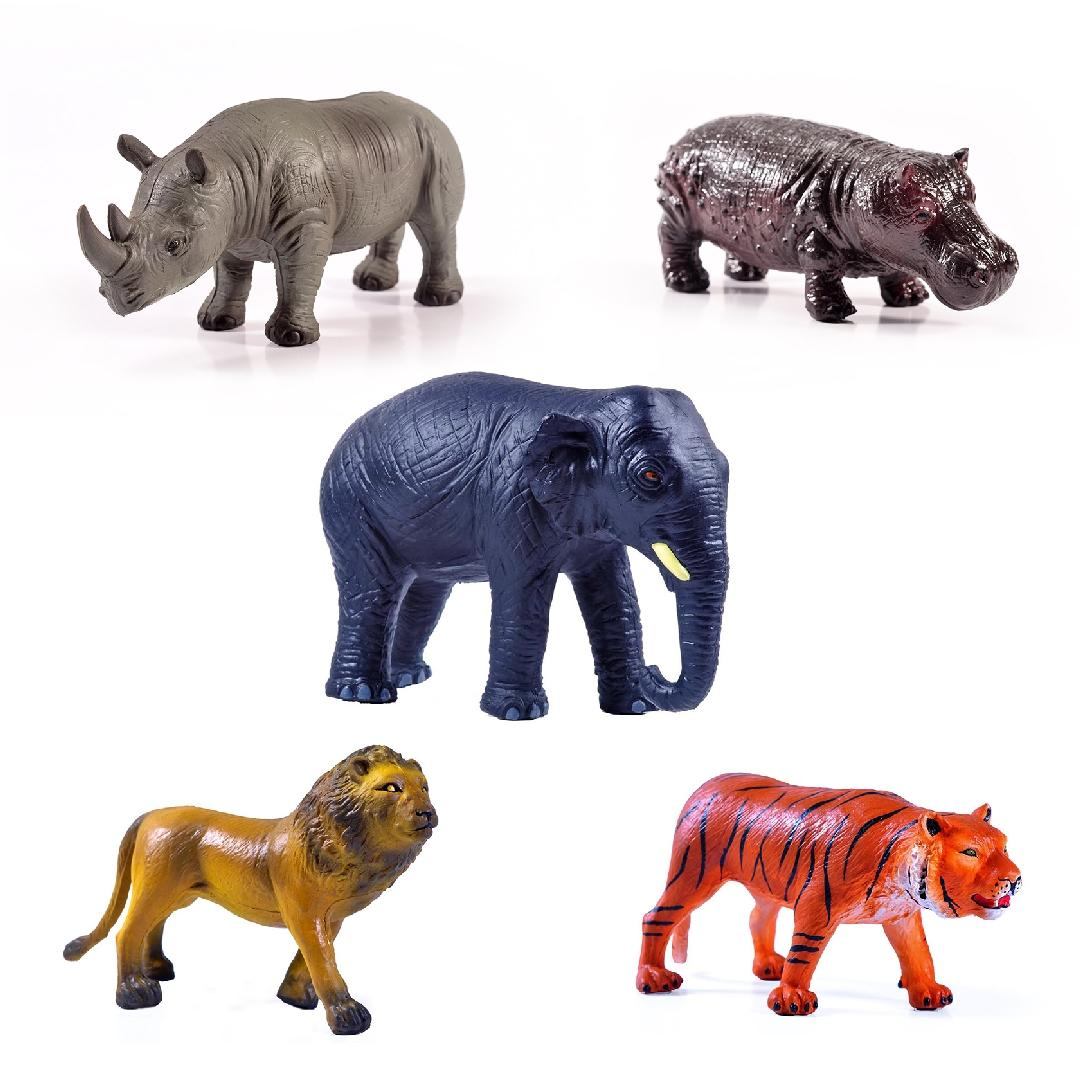 Green Rubber Jungle Animals Set (5pcs)