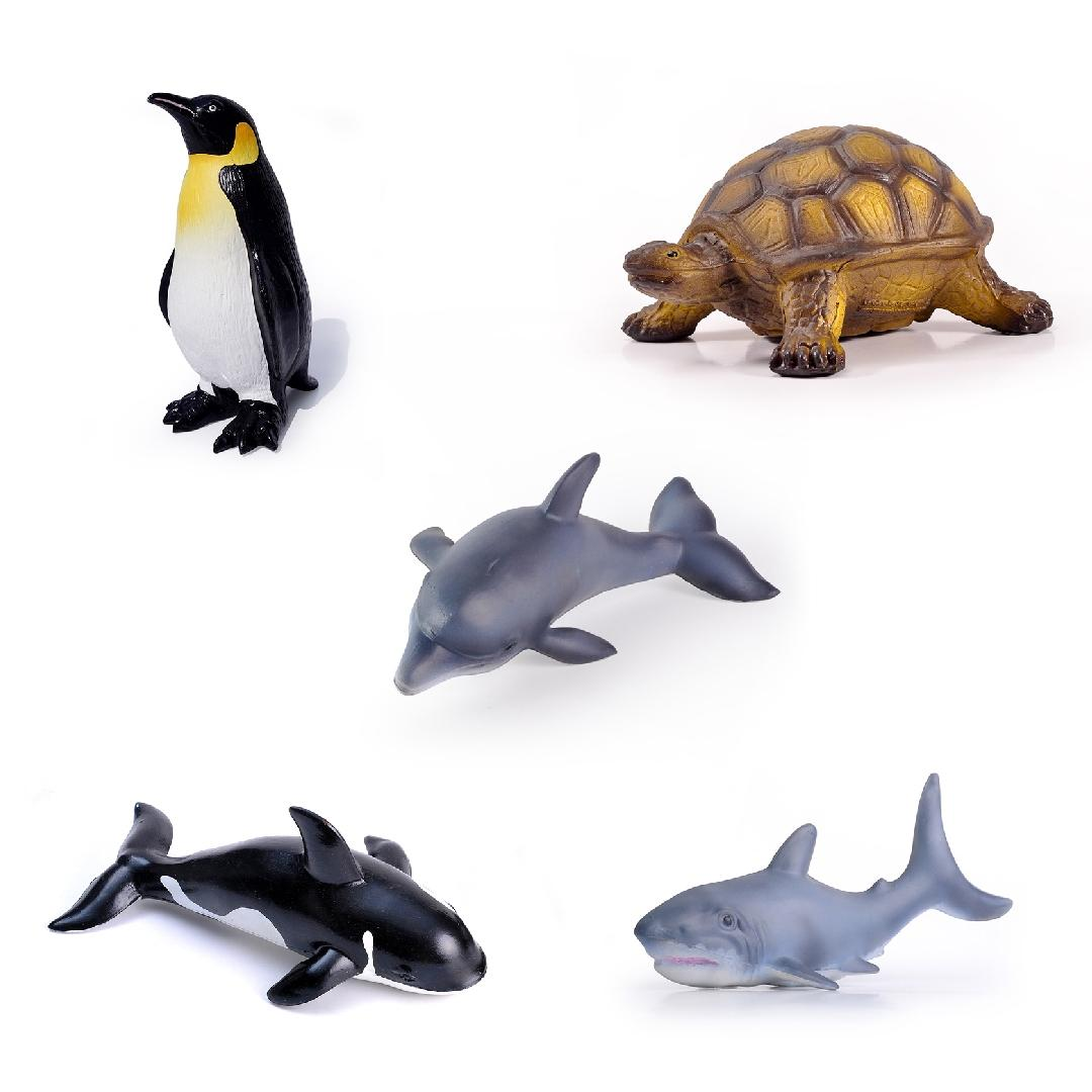 Green Rubber Marine Animals Set (5pcs)