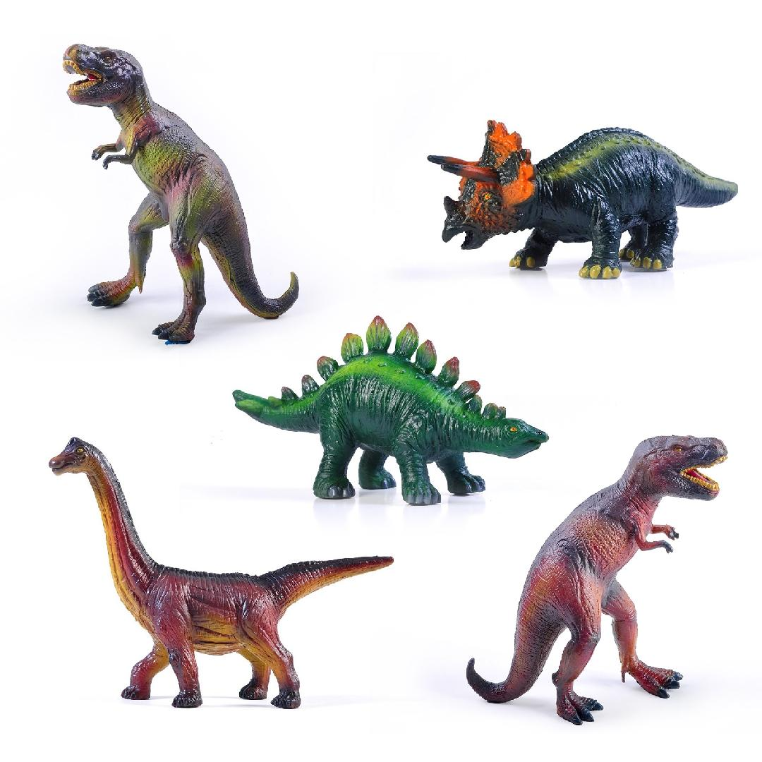 Green Rubber Dinosaur Set (5pcs)