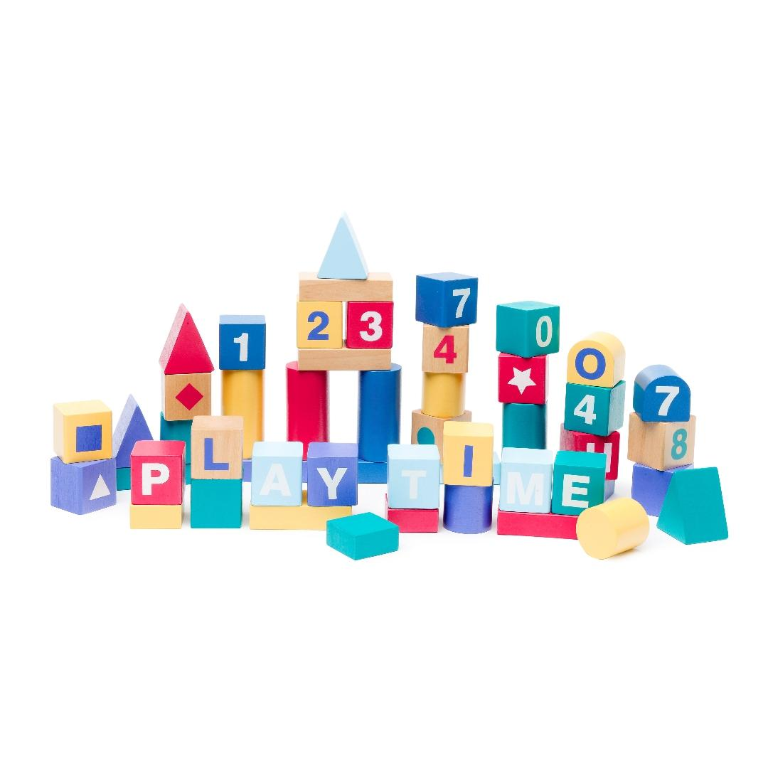 Premium Wooden Toys Alphabet Blocks (50pcs)