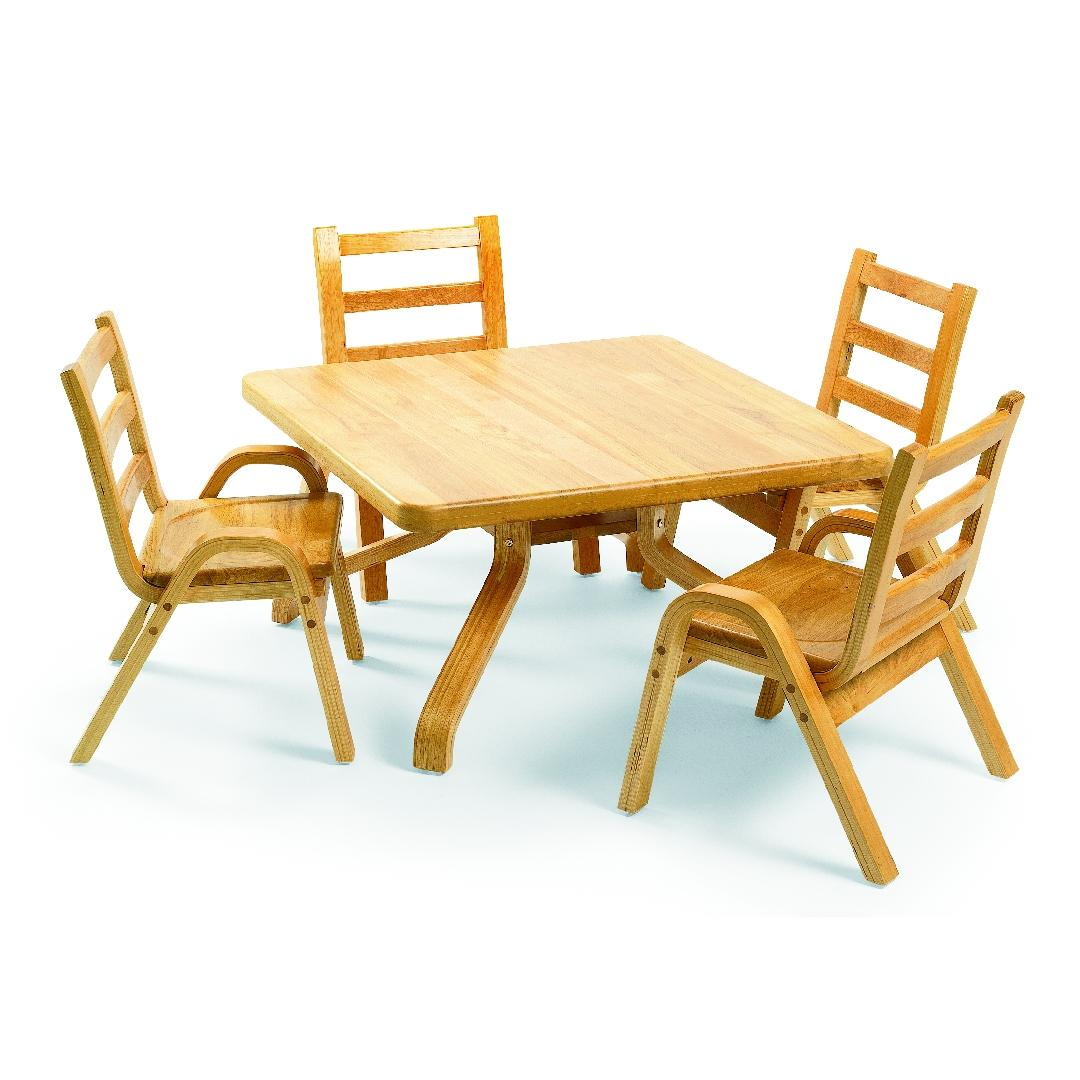 Natural Wood Square Table 40cmH