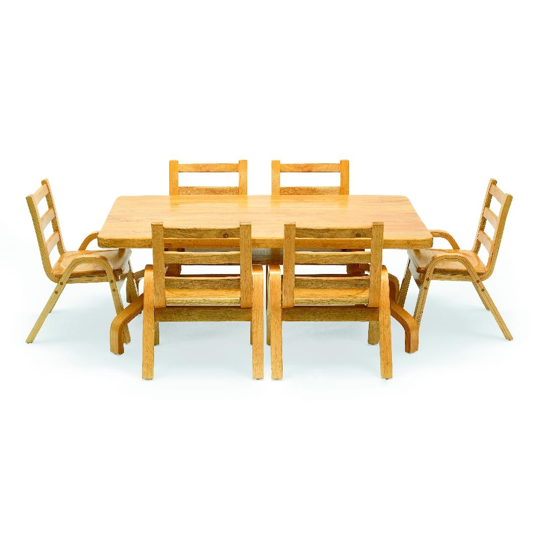 Natural Wood Rectangular Table 45cmH