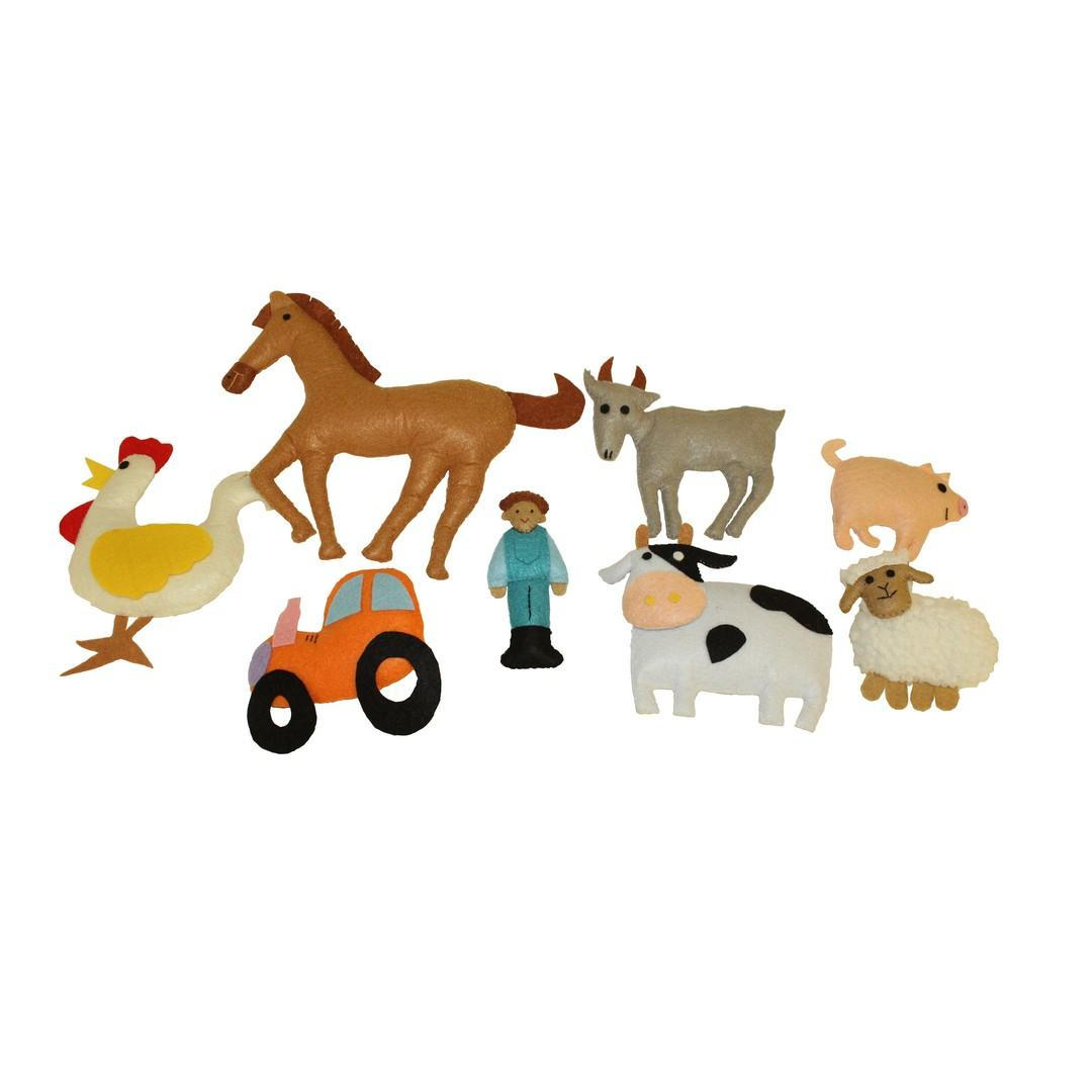 3D Felt Farm Animals (8pcs)