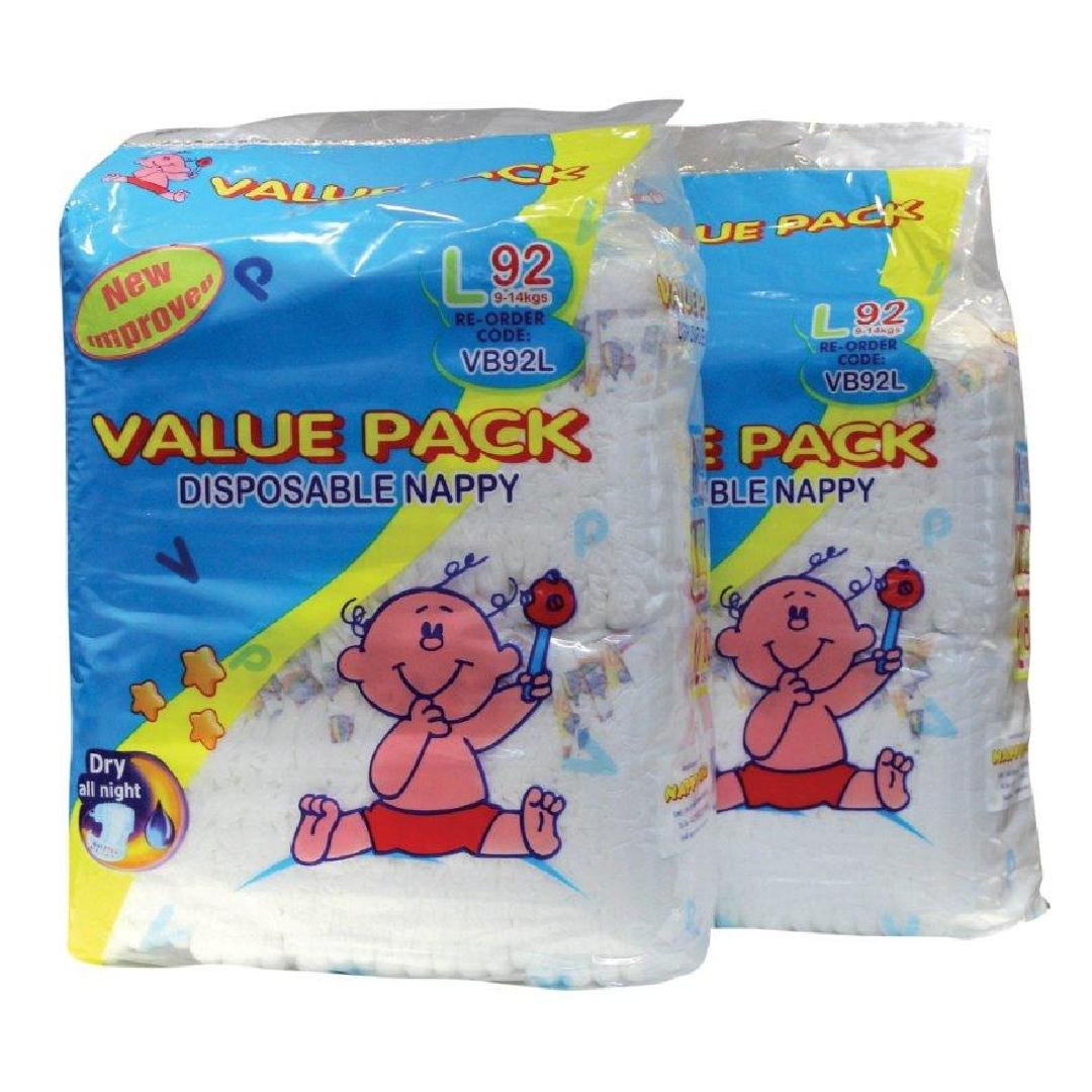 Value Pack Toddler 9-14kg Nappies (92pk)