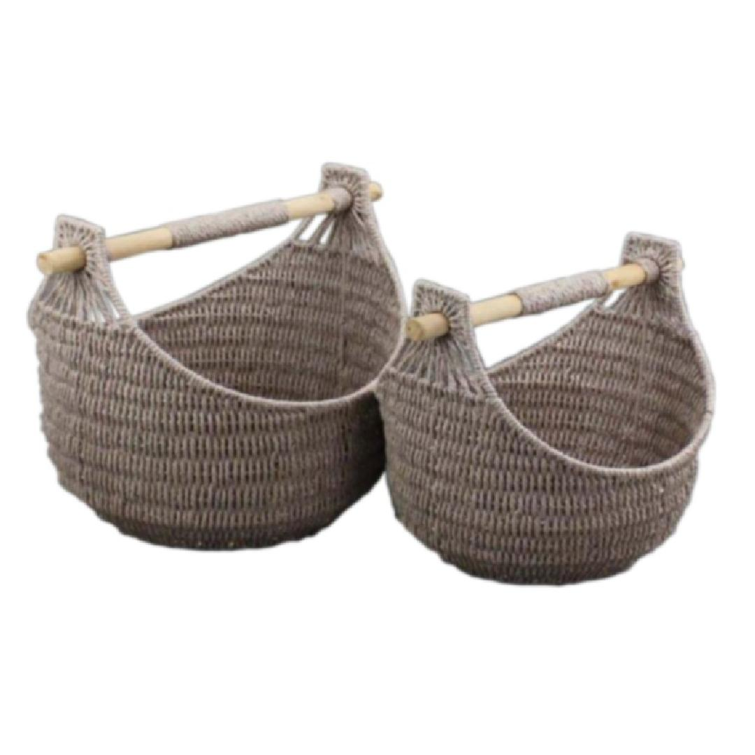 Woven Basket with Handles (Set of 2)