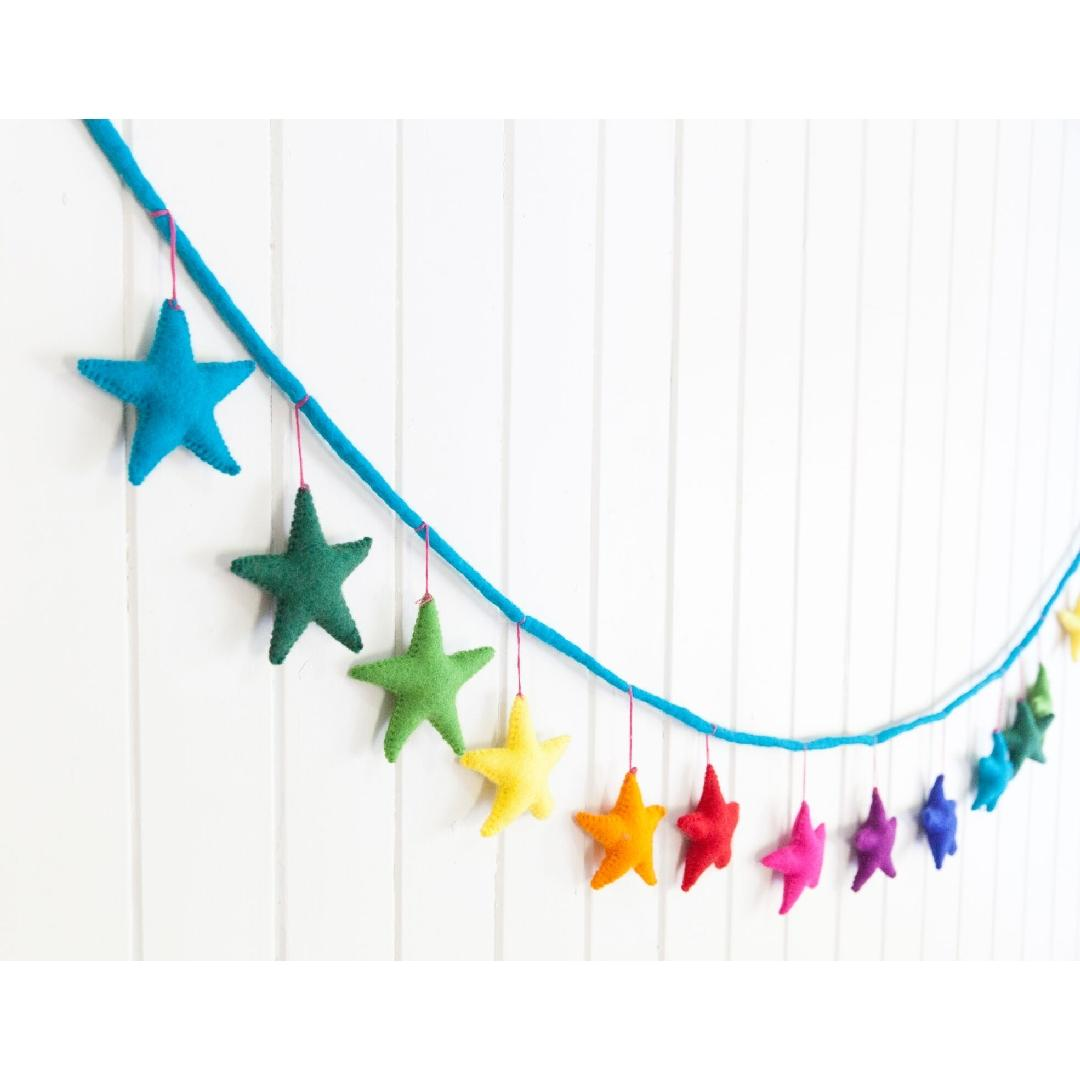 Rainbow Felt Star Garland