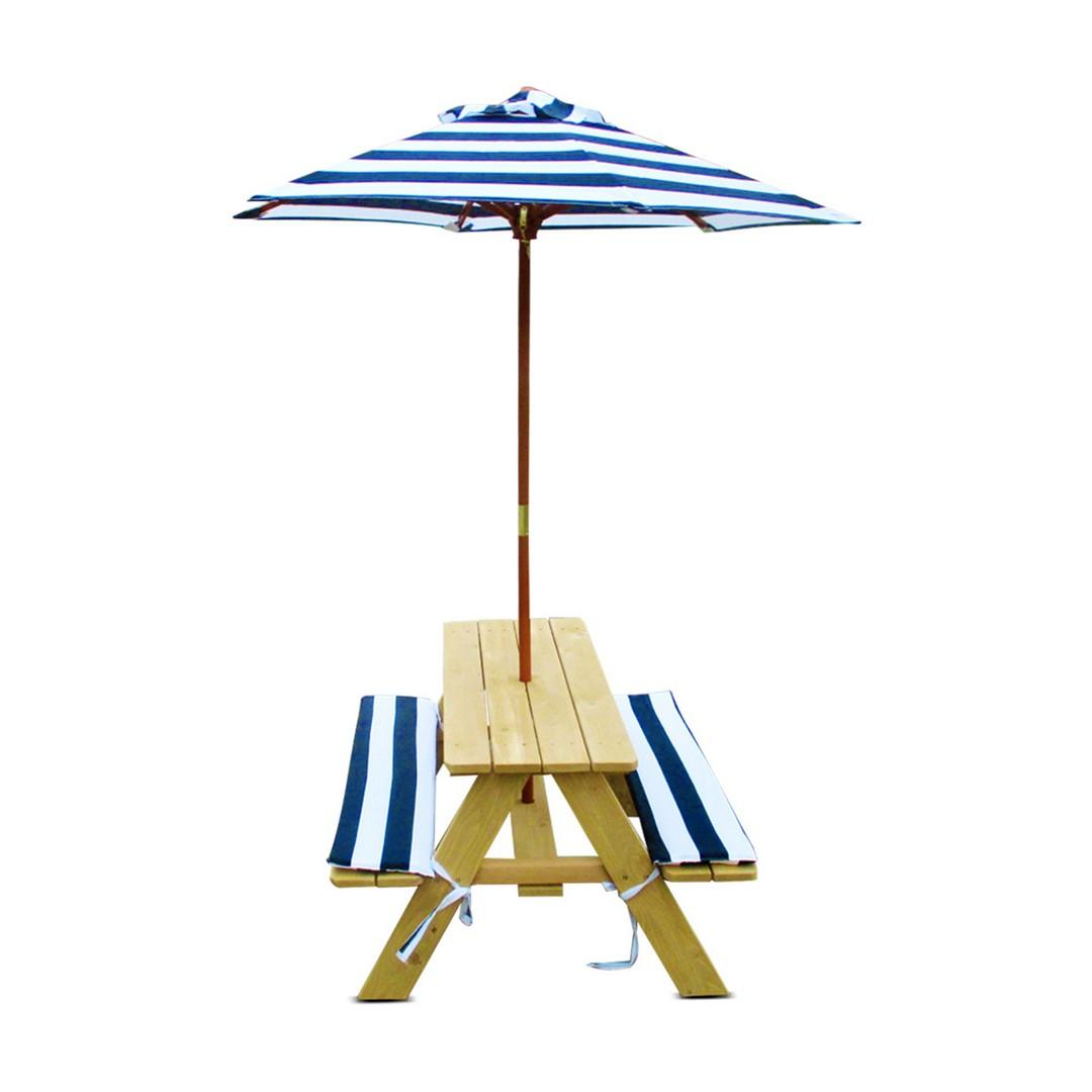 Natural Picnic Table with Umbrella and Cushions