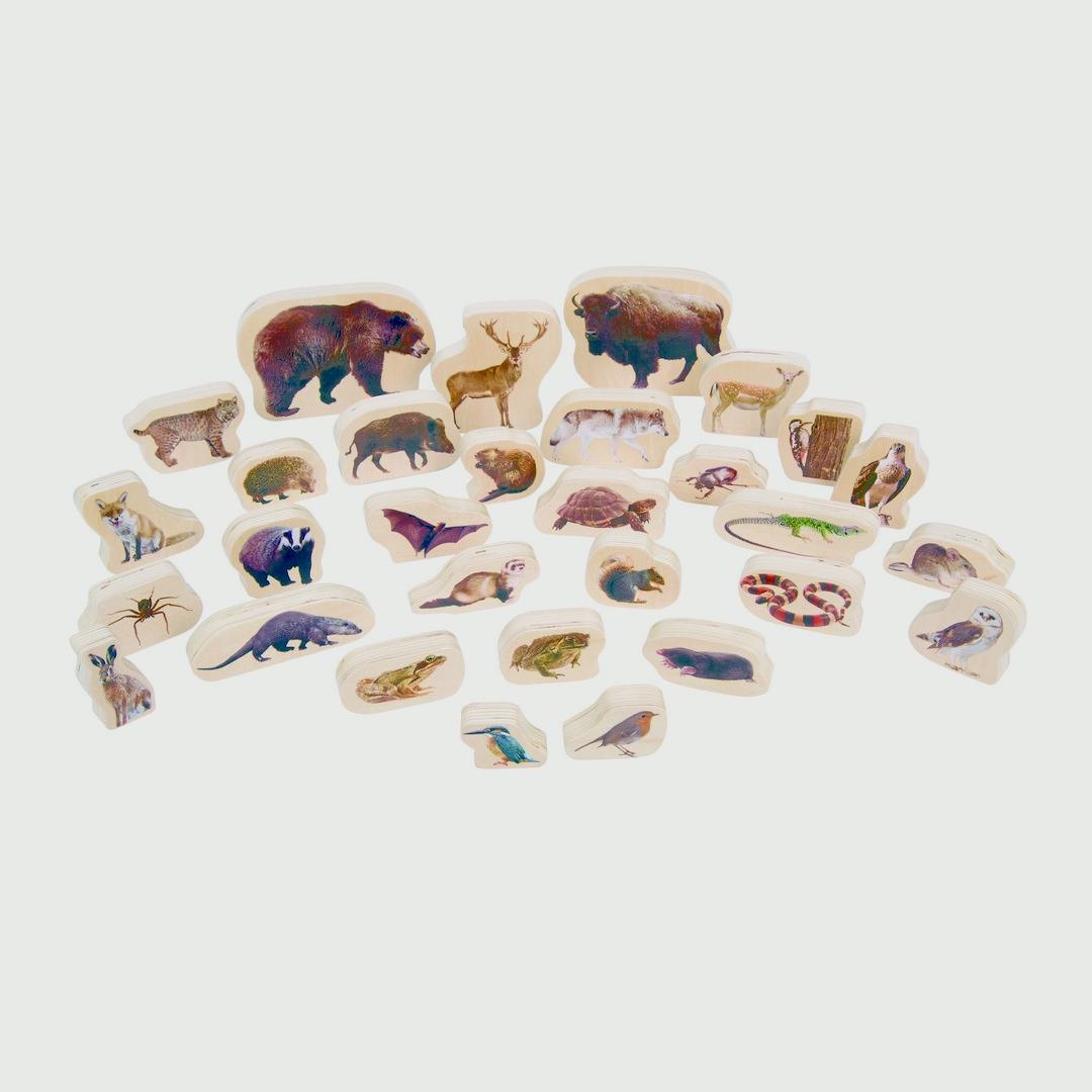 Wooden Forest Animal Blocks (30pcs)
