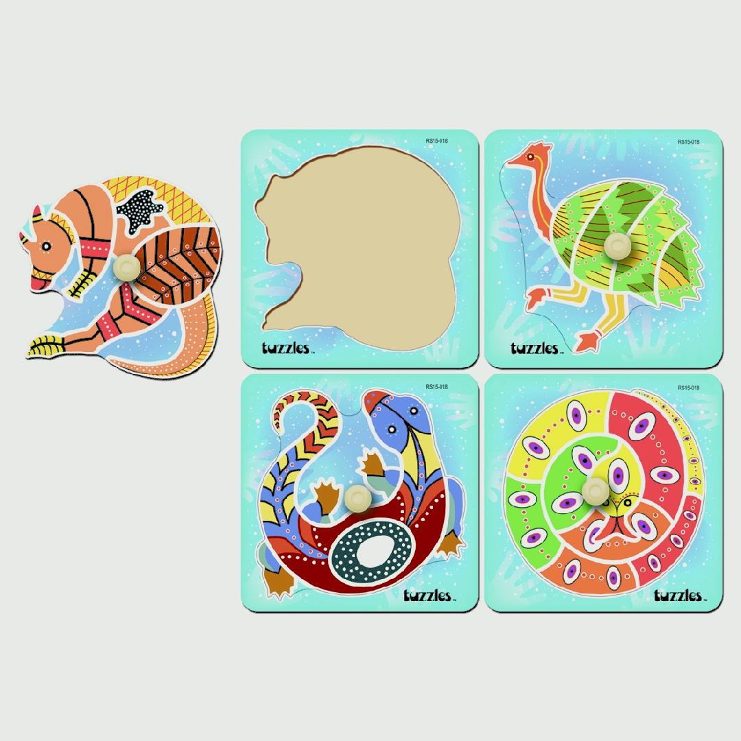 Aboriginal First Knob Puzzle (Set of 4)