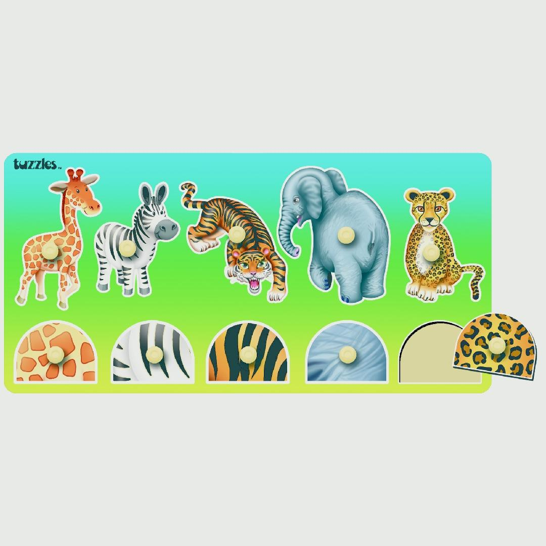 Matching Wild Animals Peg Puzzle (10pcs)