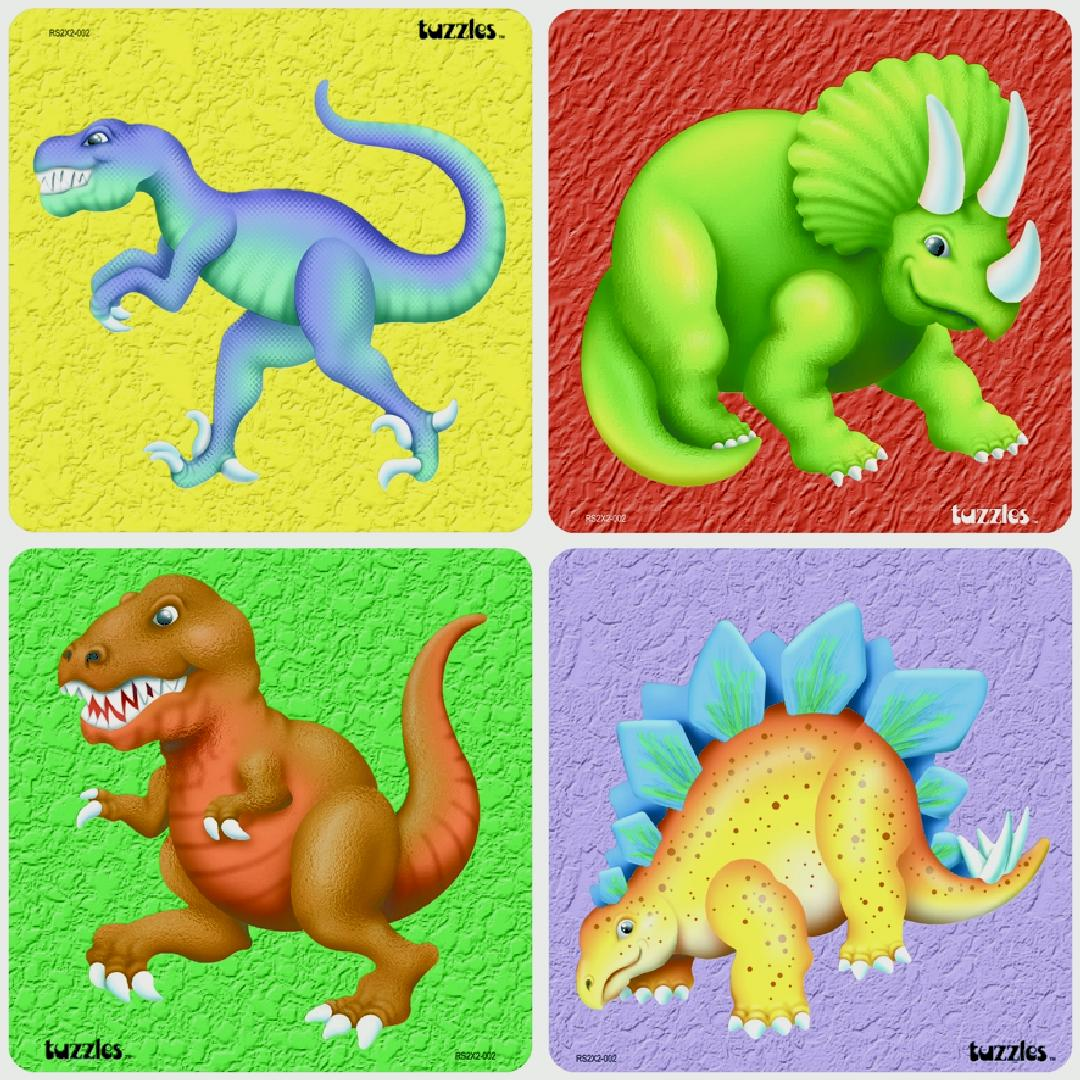 Dinosaur Raised Puzzles (Set of 4)