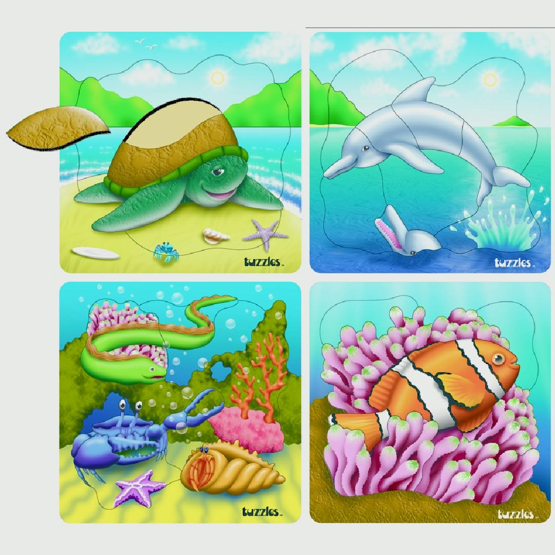 Sea Life Raised Puzzles (Set of 4)