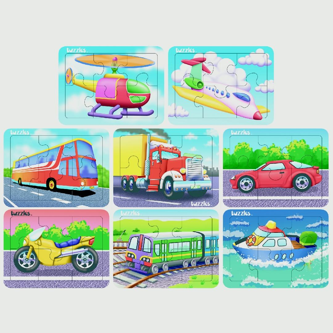 Transport Flat Puzzles (Set of 8)