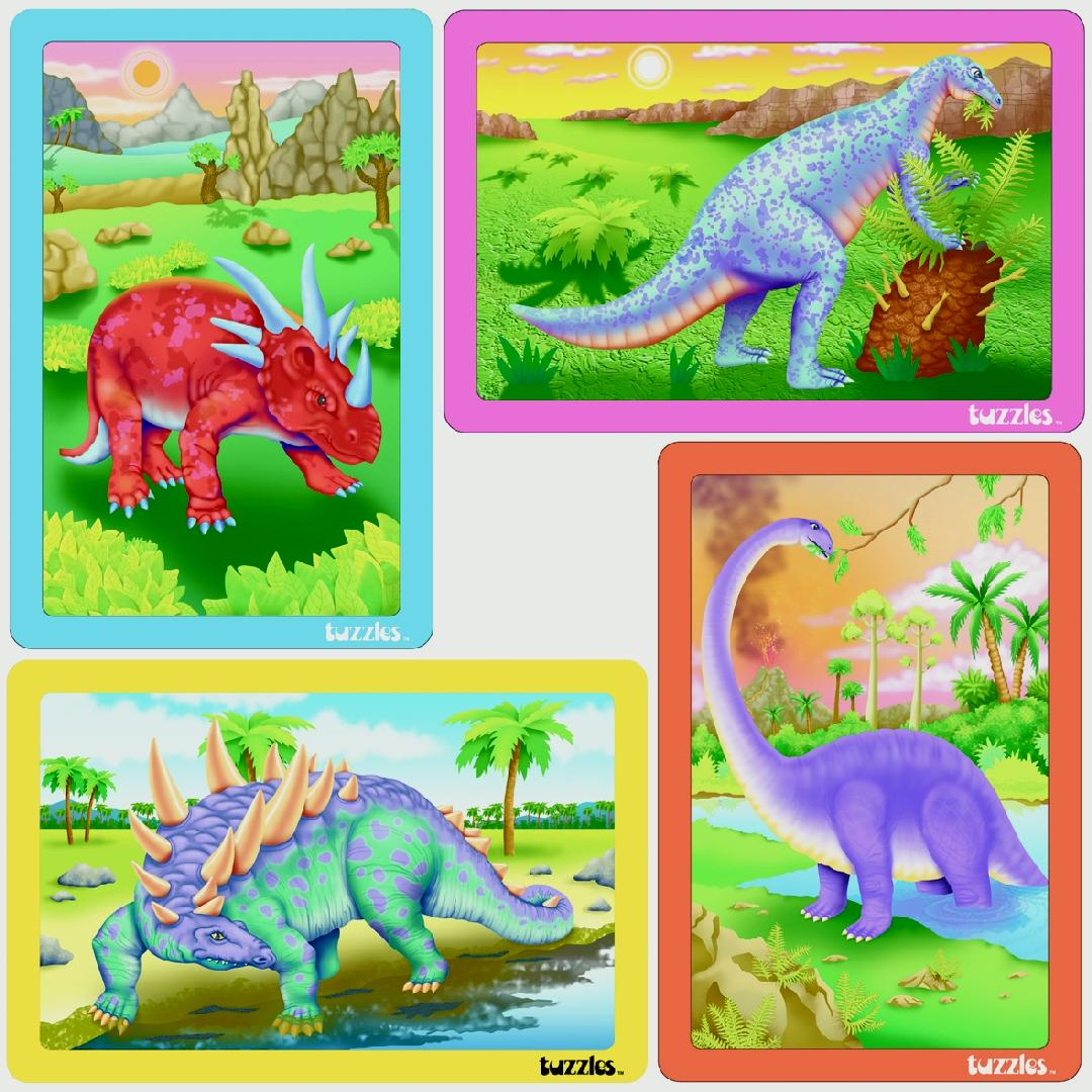 Dinosaur Flat Puzzles (Set of 4)