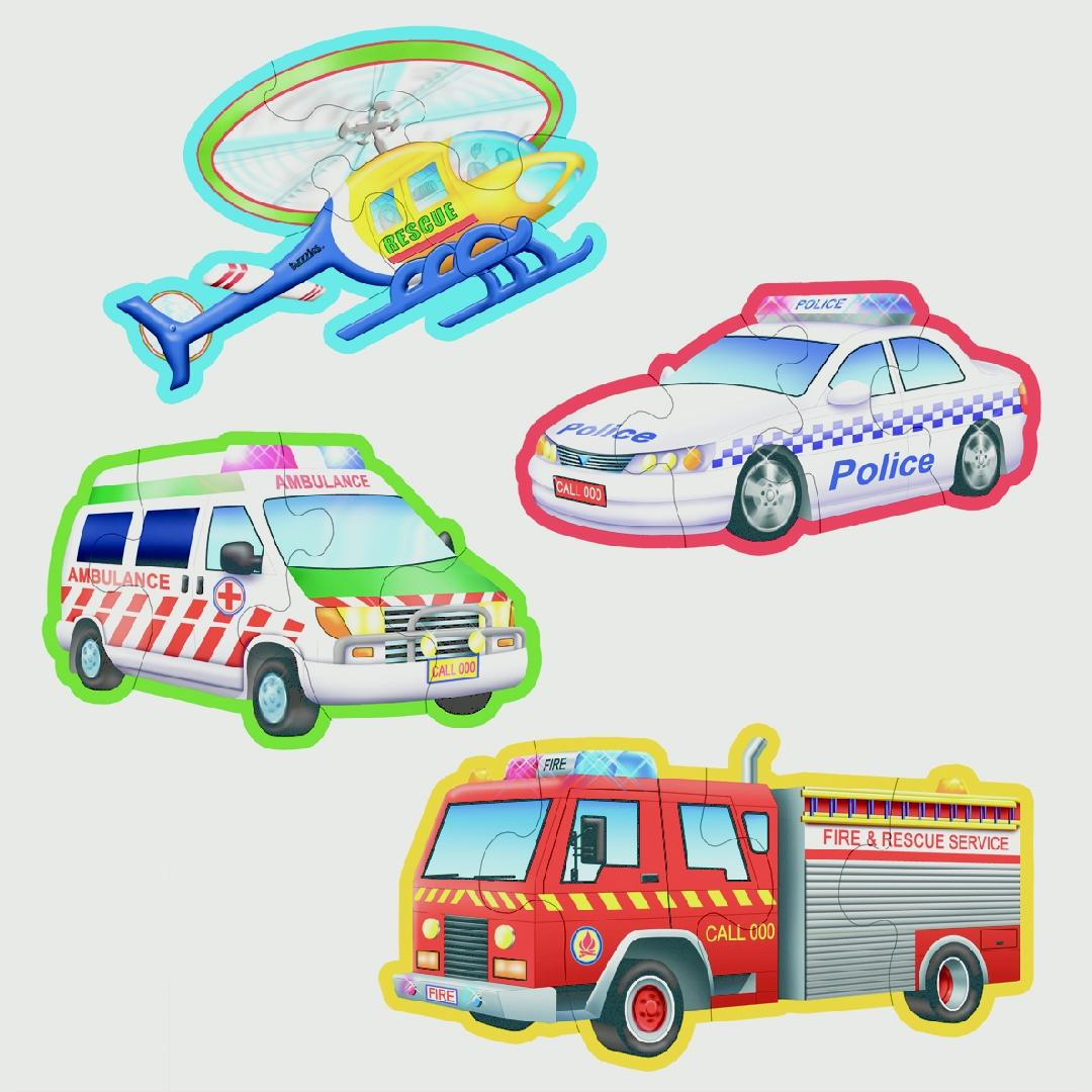 Emergency Vehicles Table Puzzles (Set of 4)