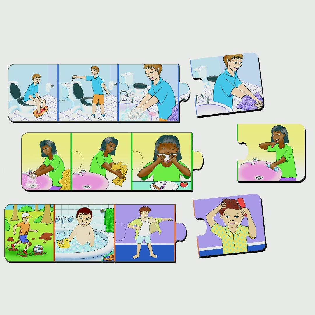 Hygiene Sequence Table Puzzles (Set of 3)