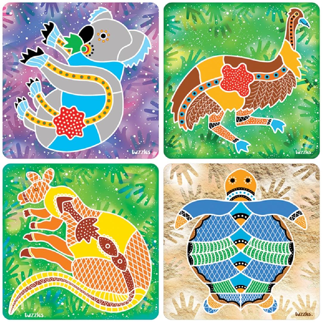 Aboriginal Art Raised Puzzles (Set of 4)