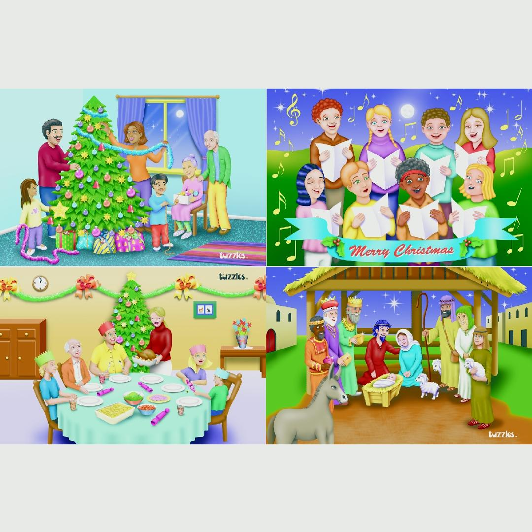 Christmas Activities Puzzles (Set of 4)