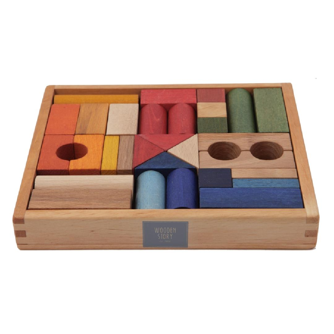 Wooden Story Rainbow Blocks (30pcs)