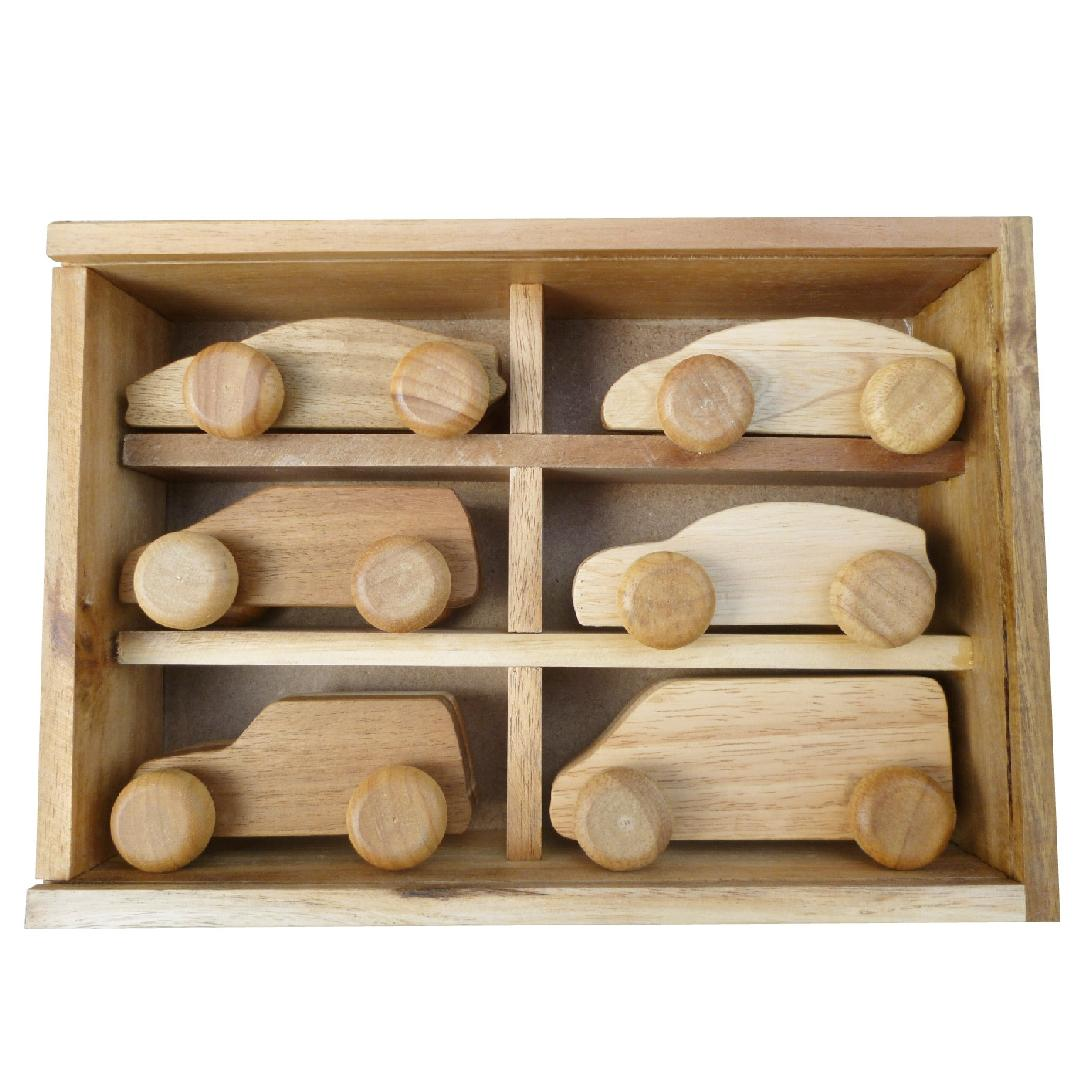 Natural Wooden Cars (6pcs)