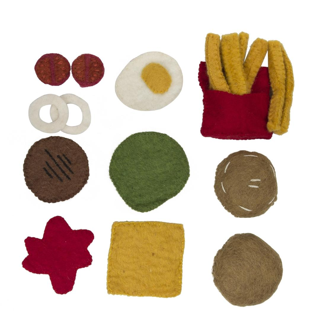 Felt Burger & Chips Set (18pcs)