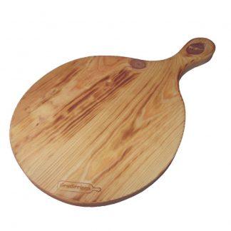 Tabla de cortar circular de pino con asa-0