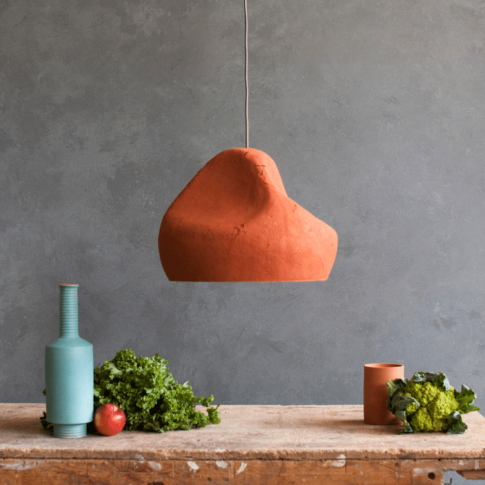 red-ocher-umber-paper-pendant-lamp-sensi-II-sustainable-lamps-ekohunters-crea-re-inspiring-changes