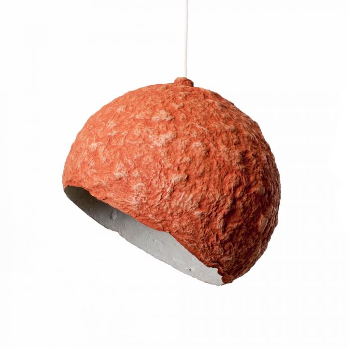 lampara-techo-sostenible-papel-rojo-ocre-planet-mini-lamparas-ecologicas-ekohunters-crea-re