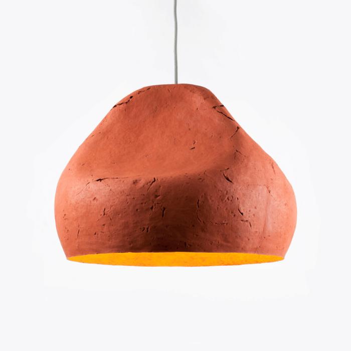 lampara-sostenible-techo-rojo-ocre-papel-sensi-II-lamparas-ecologicas-ekohunters-crea-re