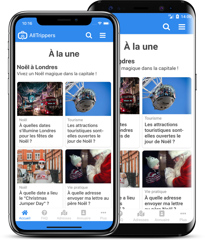 Application AllTrippers sur iPhone et Android