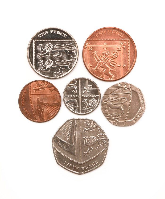 Coins of 1 penny, 2 pence, 5 pence, 10 pence, 20 pence and 50 pence