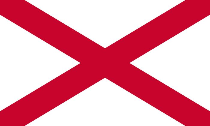 Flaga Irlandii Północnej reprezentuje Krzyż Świętego Patryka.