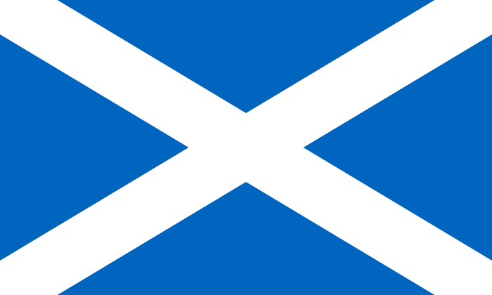 The Scottish flag represents the Cross of St. Andrew.